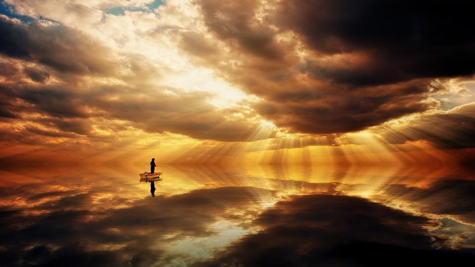Ocean, Fischer, Clouds, Reflection, Mirroring, Dramatic