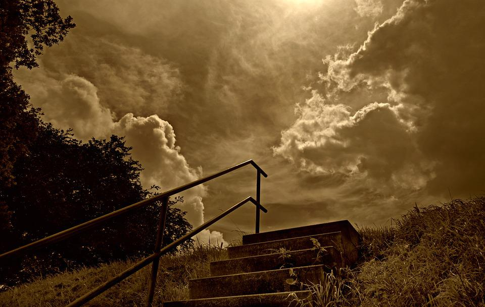 Sky, Clouds, Hill, Staircase, Stone Steps, Dramatic