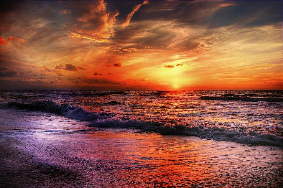 Sky, Beach, Sun, Sea, Clouds, Coast, Blue, Dramatic Sky