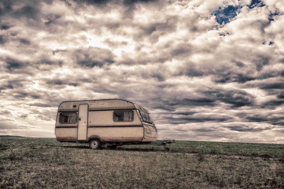 Caravan, Dramatic, Dark, Meadow, Mobile, House, Sky