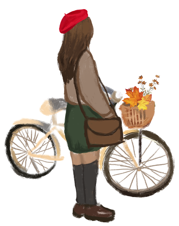 Bicycle, Woman, Fashion, Painting, Drawing, Autumn
