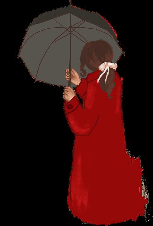 Woman, Umbrella, Red Coat, Drawing, Cutout, Red, Girl