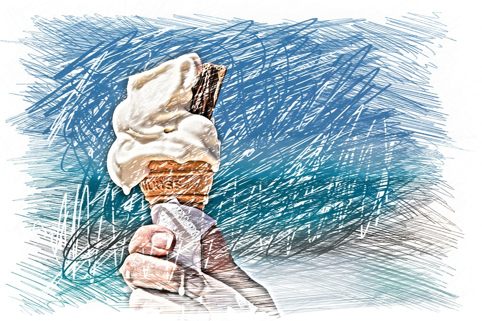 Ice Cream Cone, Melt, Hot, Drawing, Colorful