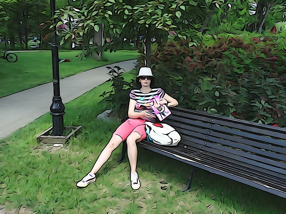 Woman, Nice, Painting, Green, Park, Bench, Drawing