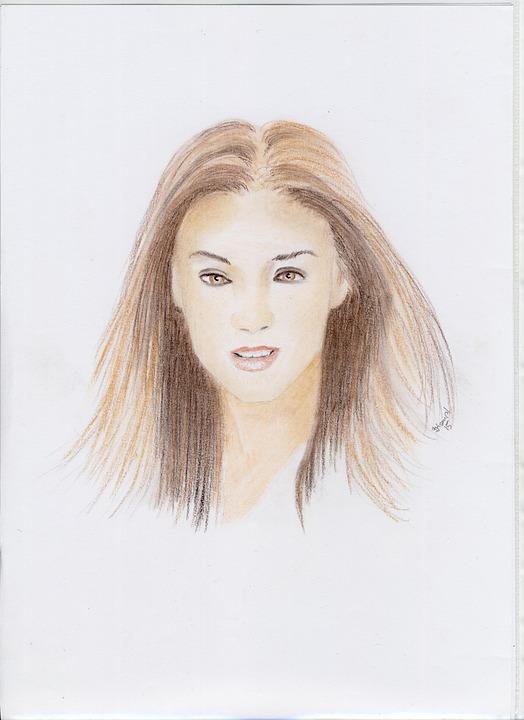 Drawing, Color, Women, Young, Chalk, Portrait