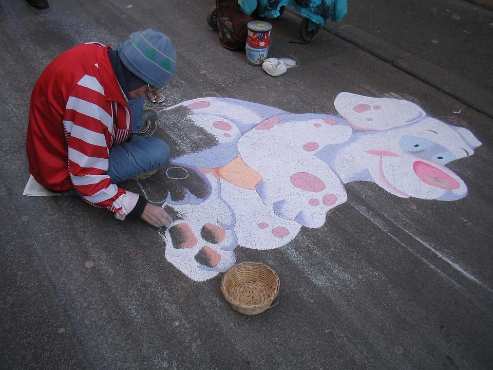 Street Art, Graffiti, Man, Drawing, Dog, Sidewalk