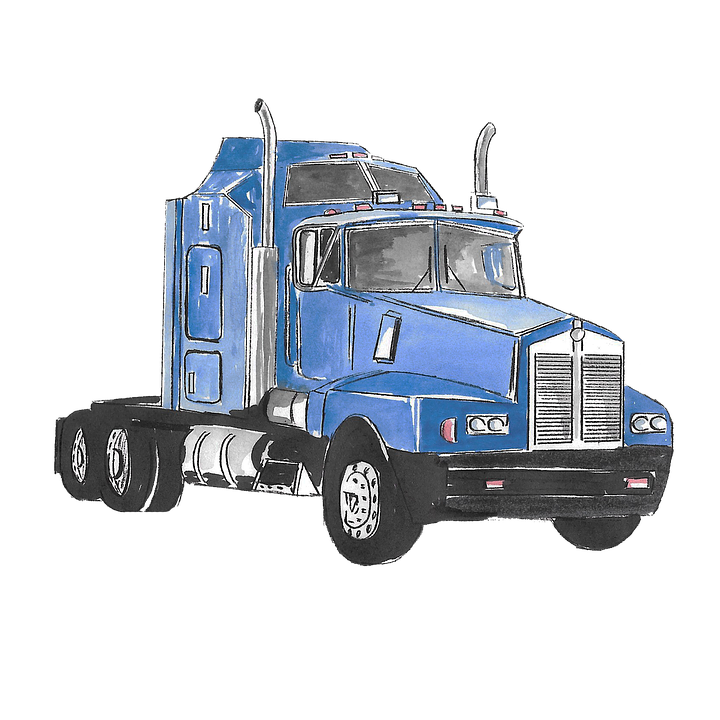 Truck, Drawing, Watercolor, Blue, Isolated, Usa