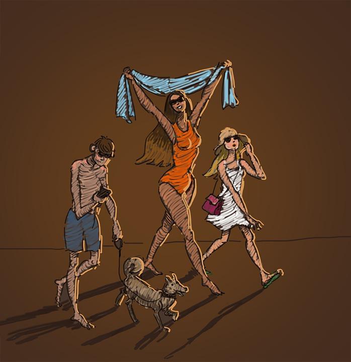 People, Walking, Summer, Woman, Boy, Girl, Drawing