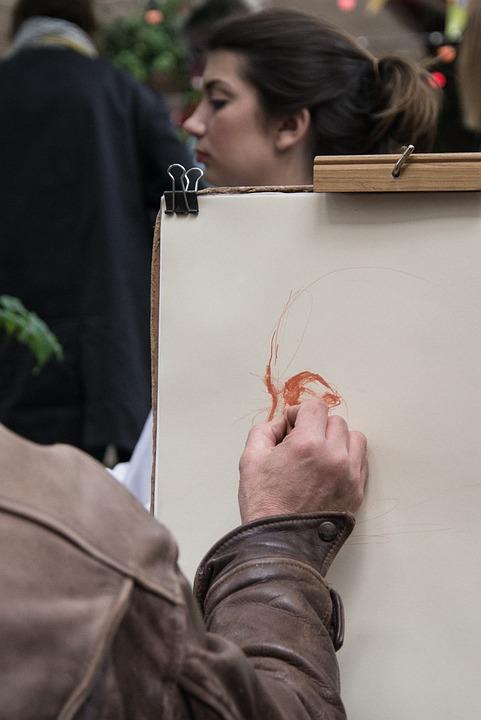 Woman, Paris, France, Drawn, Design, Hand, Sketch