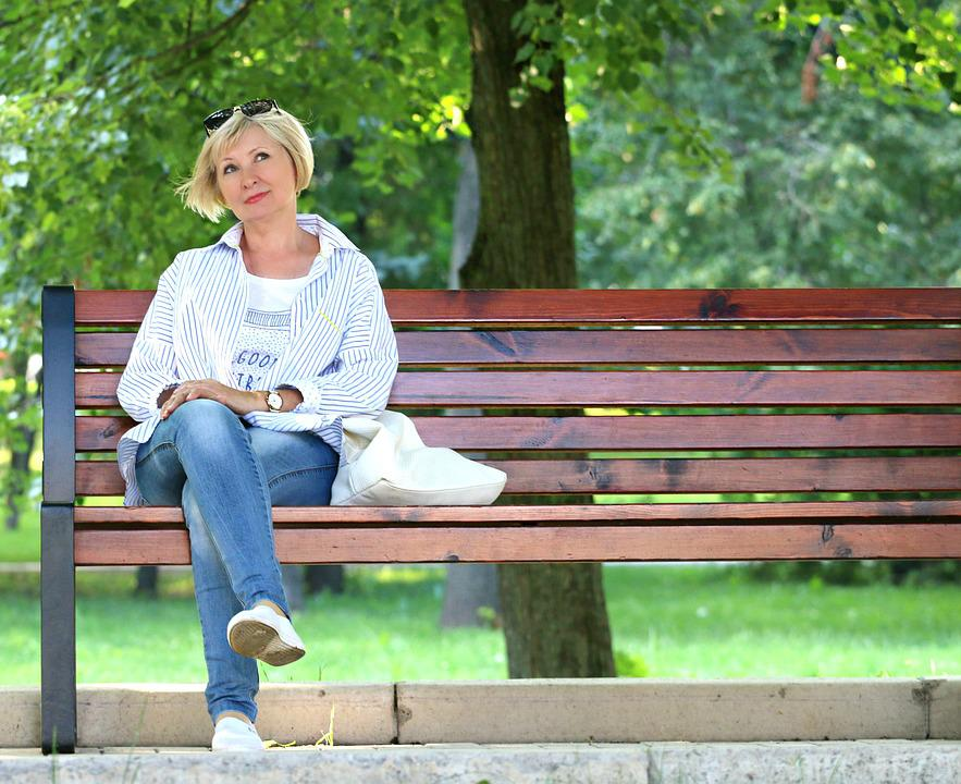 Woman, Bench, Stand By, Blonde, Dream, Think, Place