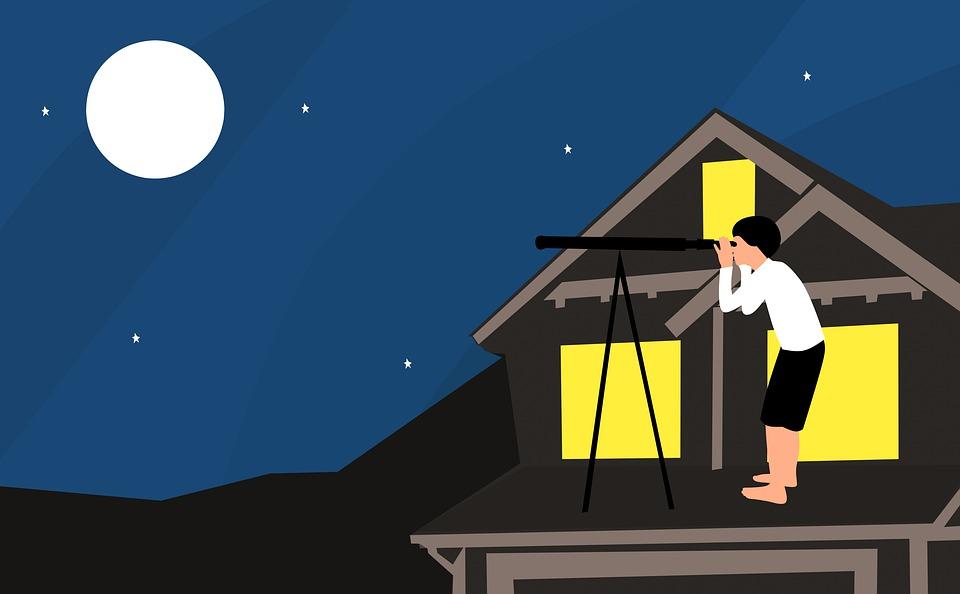 Boy, Dreams, Fantasy's, People, Telescope, Moon, House