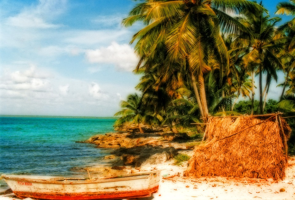 Dreamy, Beach, Sand, Boat, Ocean, Water, Palm Trees