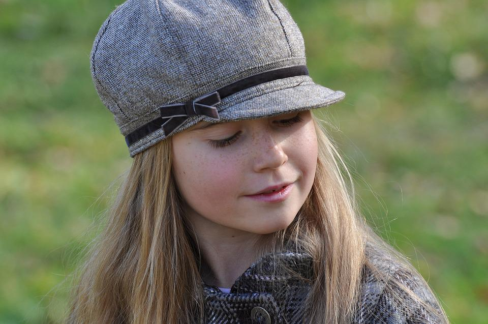 Child, Girl, Face, View, Blond, Cap, Dreamy