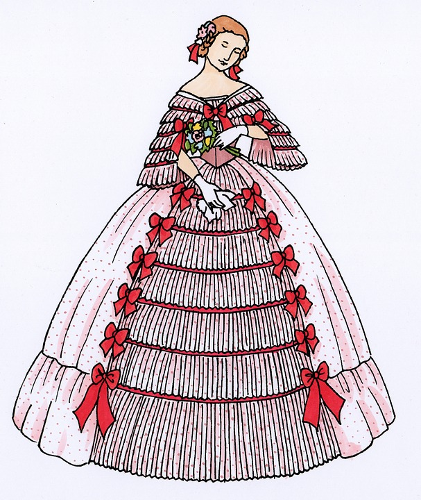 Fashion, Historically, Dress, Ball Gown, 1860, Lady