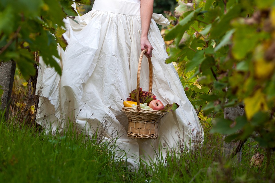 Woman, Girl, Dress, White, Basket, Fruit, Apple, Pear
