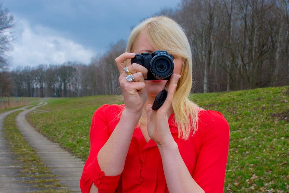 Photo, Woman, Blond, Camera, Red, Dress