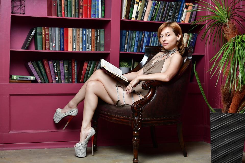Library, Girl, Dress, Reading, Slit On The Dress, Books