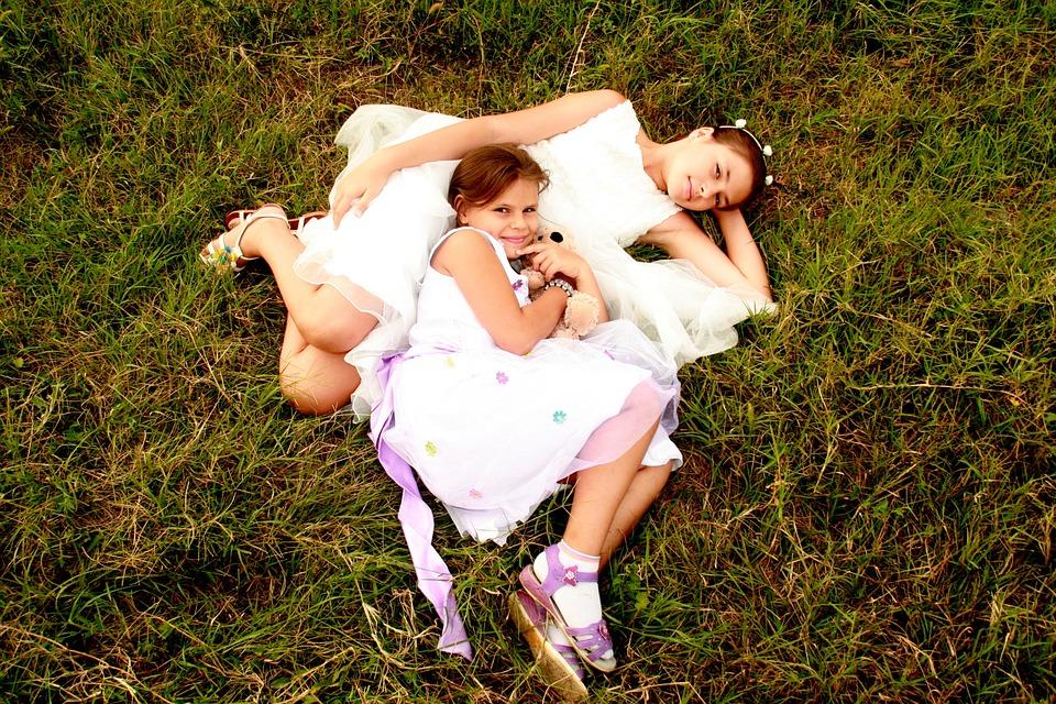 Sisters, Love, Dress, White, Hug, Happiness