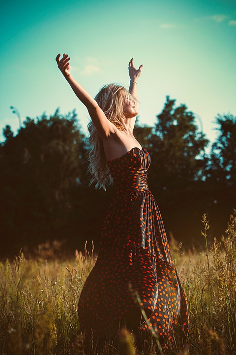 Freedom, Girl, Dress, Hands Up, Blonde, Nature, Summer