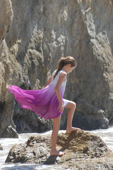 Nature, Summer, Water, Outdoors, Rock, Pink, Dress