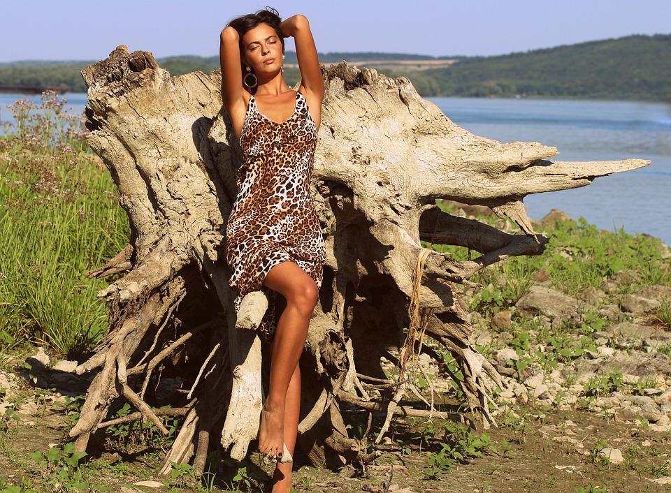 Girl, Wild, Water, Dress, Leopard, Beauty, Brown