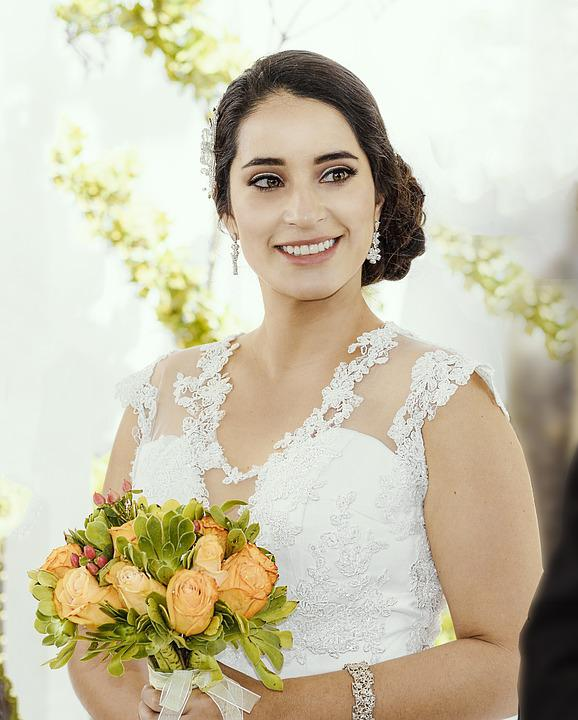Women, Wedding, Dress, Bouquet Of Flowers, Happiness