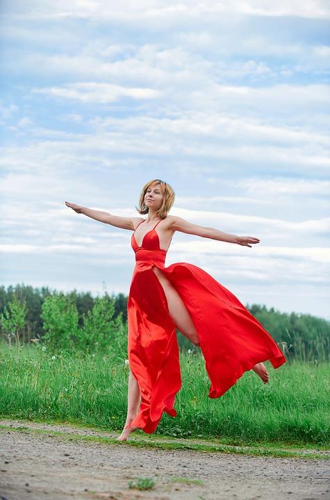 Woman, Model, Red Dress, Dress, Fashion, Jump, Jumping