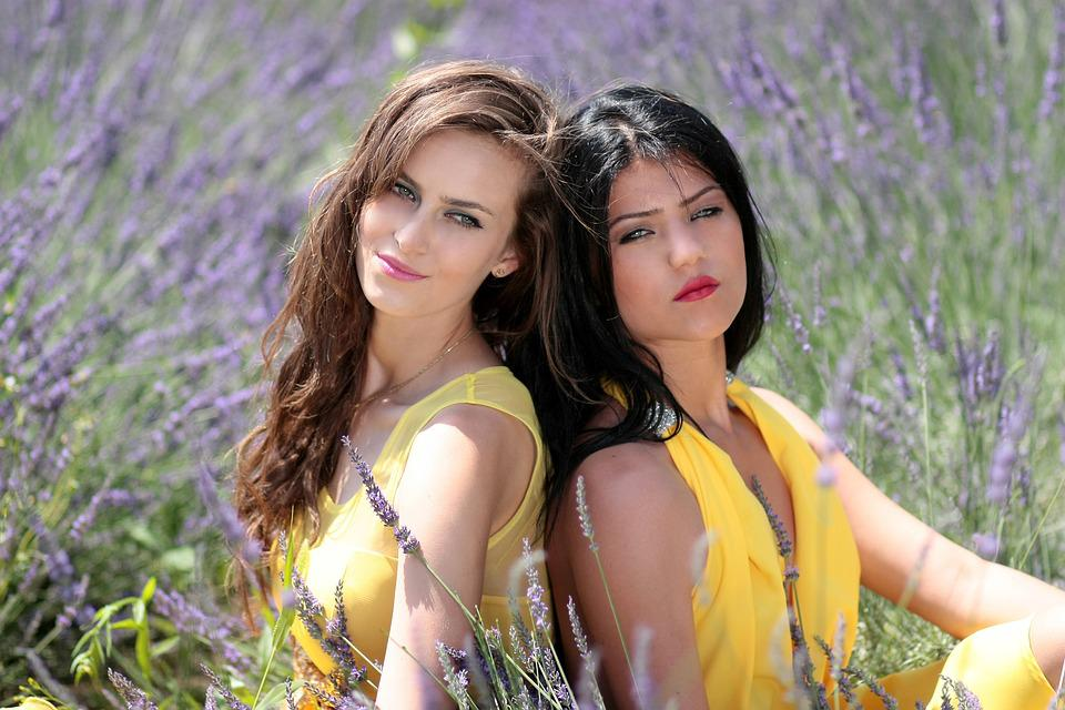 Girls, Lavender, Two, Dresses, Yellow, Beauty