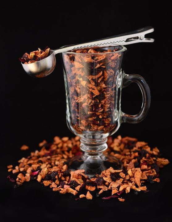 Fruit Tea, Glass, Tee, Spoon, Dried Fruit, Aromatic