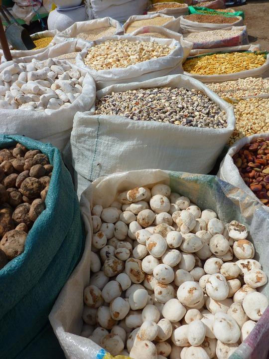 Potatoes, Dried Potatoes, Cereals, Market, Peru