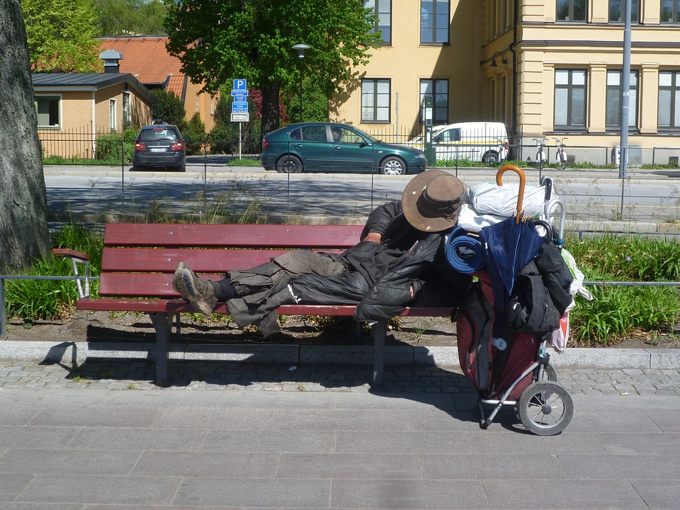 Homeless, Stockholm, Drifter, Park Bench, Hat, Packing
