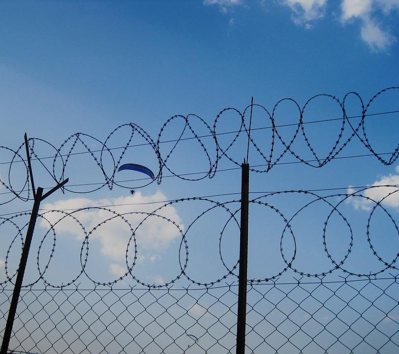 Sky, Blue, Parachute, Falling, Gliding, Drifting Fence