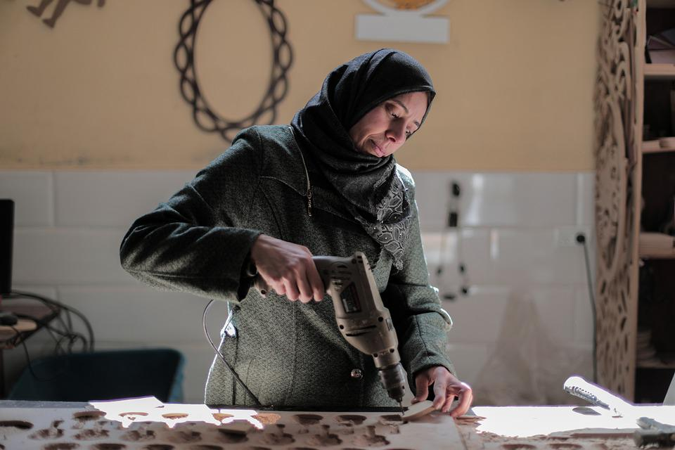 Woman, Hijab, Worker, Factory Worker, Drill, Drilling