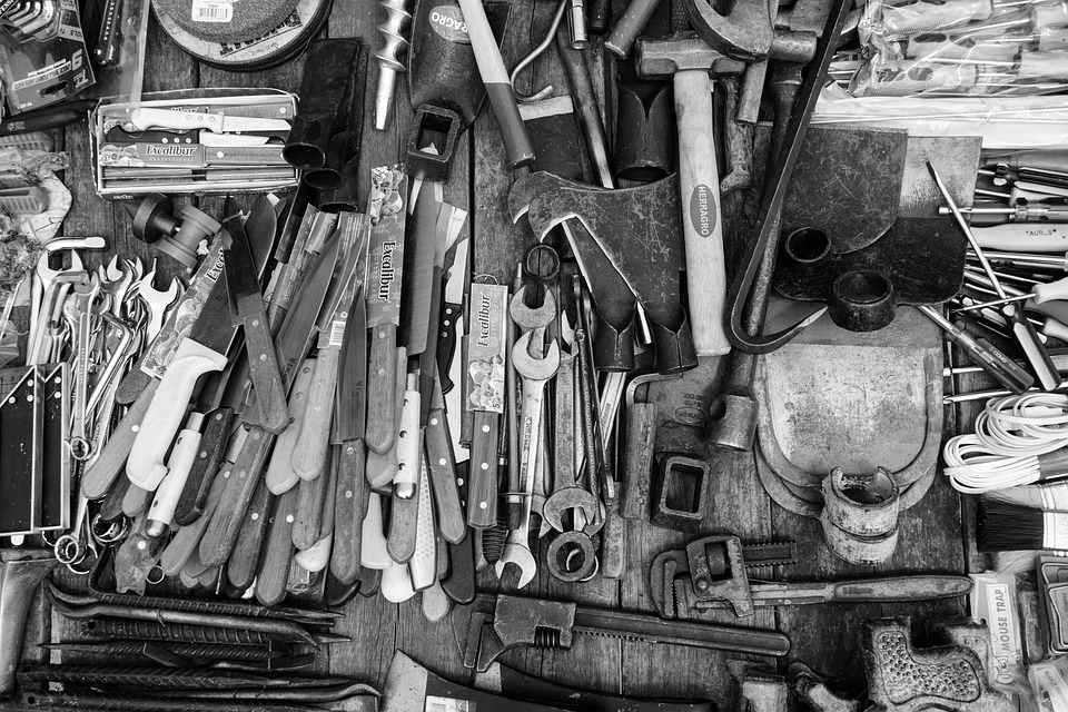 Tools, Knifes, Black And White, Cutting Tools, Drills