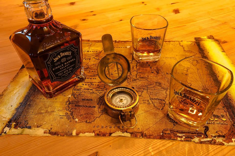 Compass, A Map, Glass, Drink