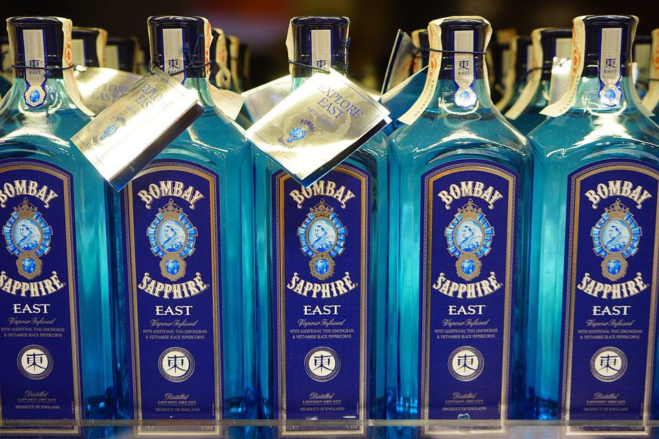 Gin, Bombay Sapphire, Drink, Alcohol, Bottles