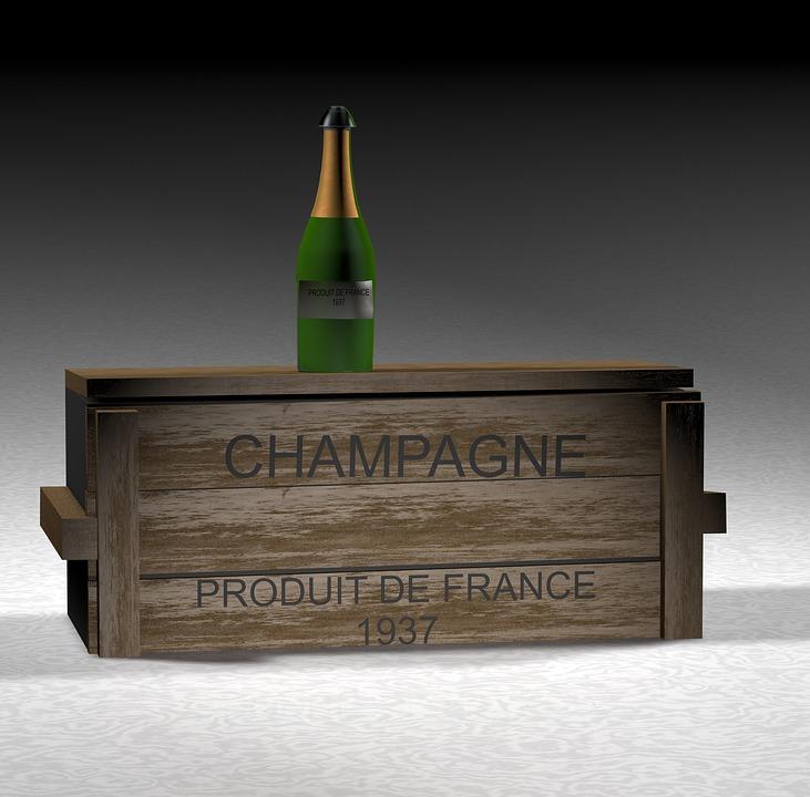 Champagne, Bottle, Box, Wood, Sparkling Wine, Drink