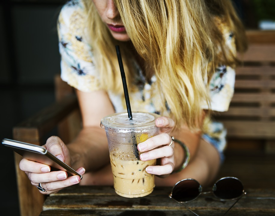 Cup, Drink, Girl, Communicate, Woman, Smartphone