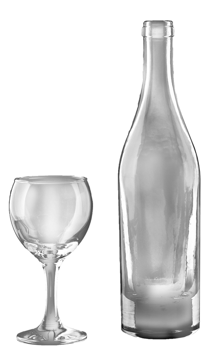 Wine Bottle And Glass Transparent, Isolated, Drink