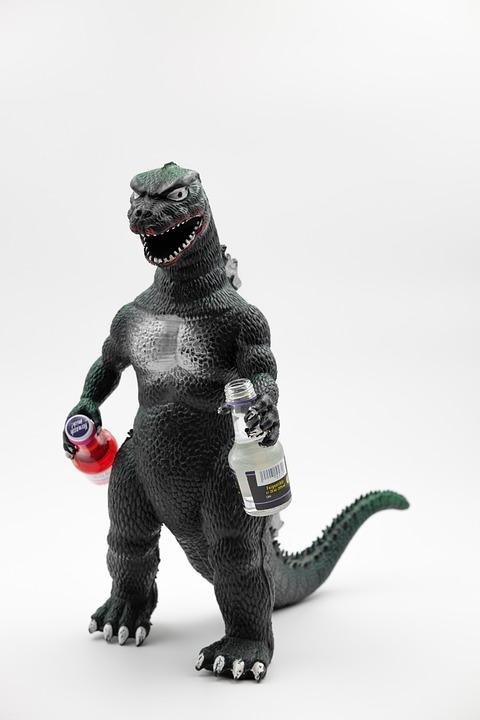 Drink, Alcohol, Brandy, Liqueur, Godzilla, Figure