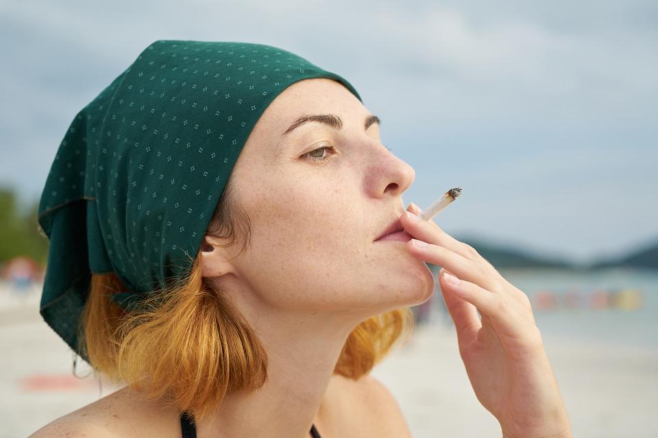 Woman, Bandana, Cigarette, Drink, Passion, Adult