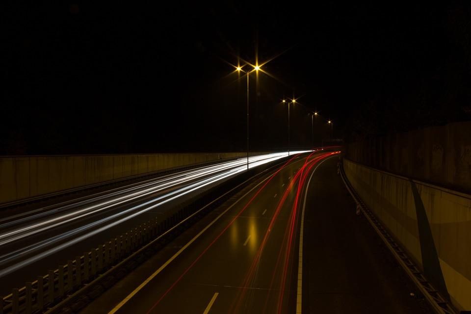 Highway, Night, Car, Drive, Road, Lamp Post