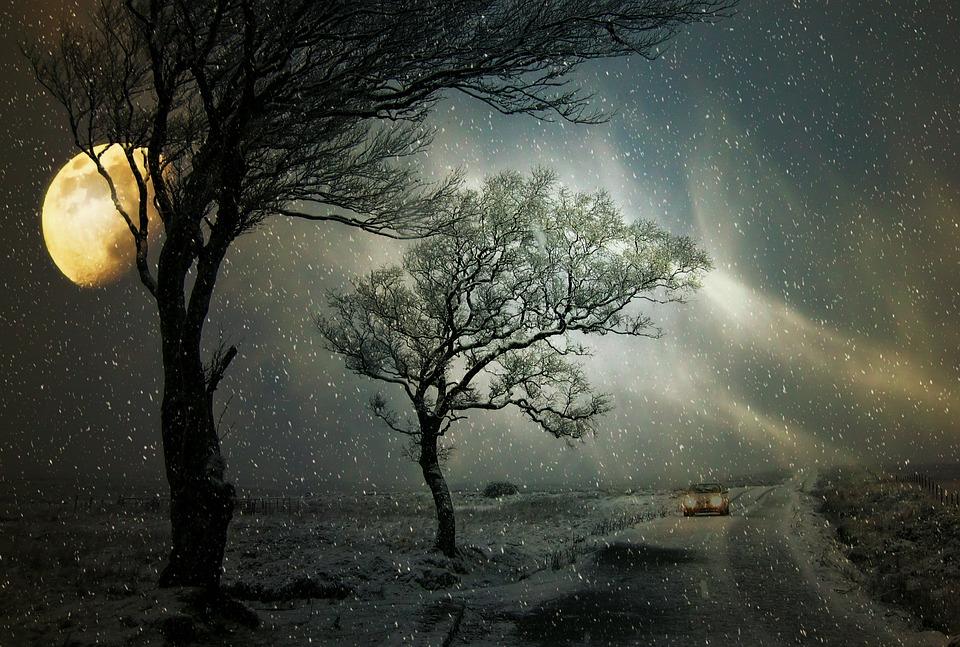 Winter, Snowfall, Road, Auto, Wintry, Snow, Drive, Moon