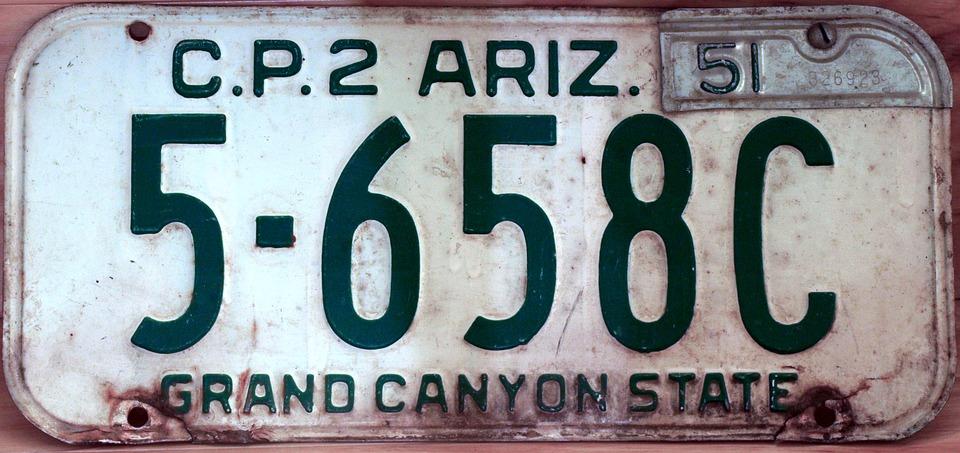 License Plate, Arizona, Driver, Licensee, Road, Travel