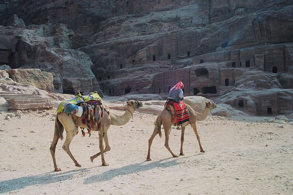 Bedouin, Dromedaries, Petra, The Red, The Colorful, Siq