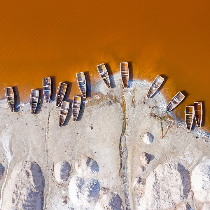 Boat, Drone, Lake, Senegal, Africa, Above, Aerial, Red