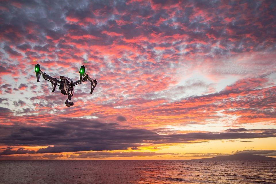 Drone, Sunset, Dusk, Sky, Clouds, Ocean, Sea, Horizon