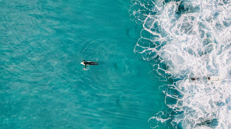 Blue, Beach, Surf, Travel, Surfer, Drone, View, Ocean