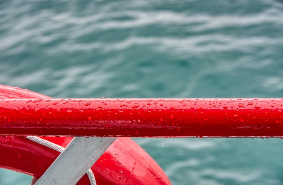Ship, Railing, Water, Lake, Lifebelt, Drop Of Water