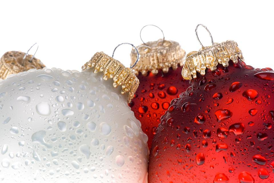 Christmas, Baubles, Wet, Droplets, Dewdrops, Raindrops
